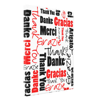 Red Black Thank You Word Cloud Canvas Print