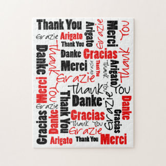 Red Black Thank You Word Cloud Jigsaw Puzzle