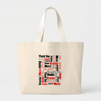 Red Black Thank You Word Cloud Jumbo Tote Bag