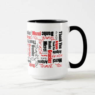 Red Black Thank You Word Cloud Mug