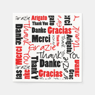 Red Black Thank You Word Cloud Paper Serviettes