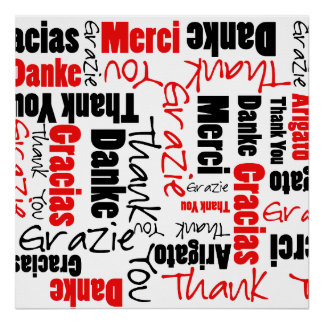 Red Black Thank You Word Cloud Poster