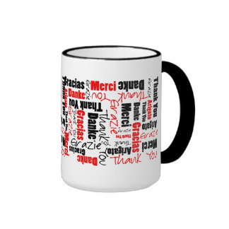 Red Black Thank You Word Cloud Ringer Mug