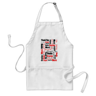 Red Black Thank You Word Cloud Standard Apron