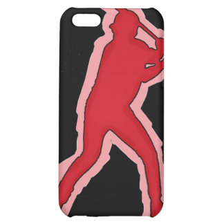 Red black theme simple baseball player iphone case cover for iPhone 5C
