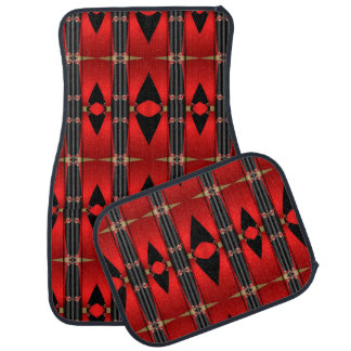 Red Black Triangular Abstract Set of 4 Car Mats