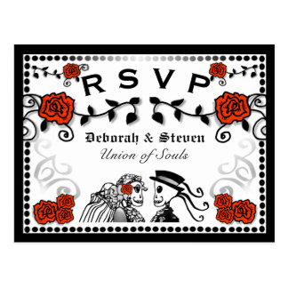 Red & Black Union of Souls Wedding RSVP PostCard