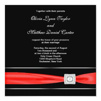 "Red Black Wedding 5.25"" Square Invitation Card"