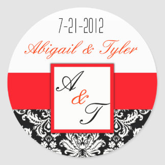 Red Black Wedding Monogram Damask Sticker