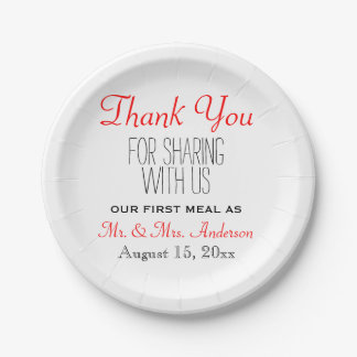 Red Black Wedding Thank You Reception Typography Paper Plate