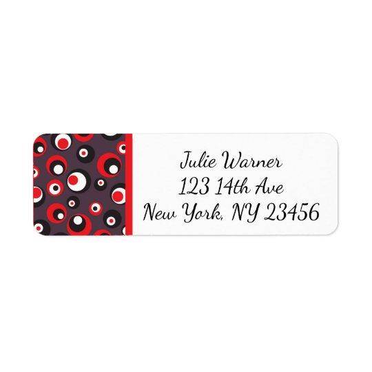 Red, Black, White Abstract Return Address Stickers Return Address Label