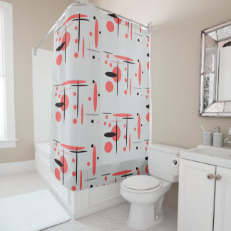 Red, Black & White Abstract Shower Curtain