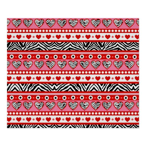 Red black & white abstract zebra hearts and dots poster