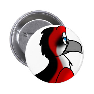 Red/Black/White Bird Hybrid 6 Cm Round Badge