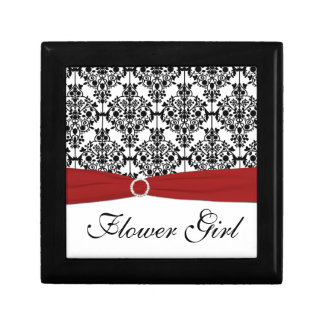 Red, Black, White Damask Flower Girl Trinket Box