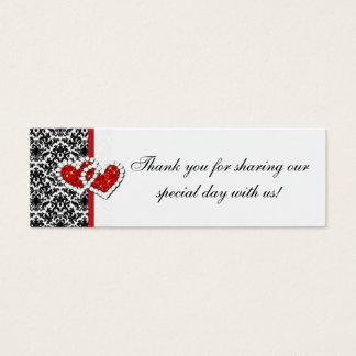 Red Black White Damask Joined Hearts Favor Tag 2 Mini Business Card