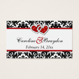Red Black White Damask Joined Hearts Favor Tag Business Card