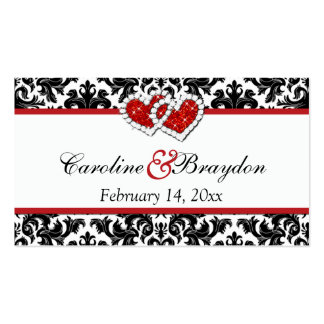 Red Black White Damask Joined Hearts Favor Tag Pack Of Standard Business Cards