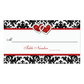 Red Black White Damask Joined Hearts Place Card Pack Of Standard Business Cards