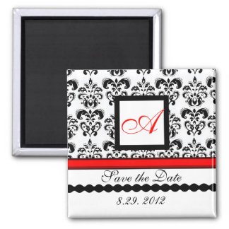 RED BLACK WHITE DAMASK MONOGRAM,Save The Date Square Magnet