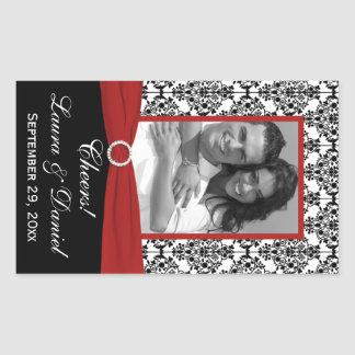 Red, Black, White Damask Photo Wine Label Sticker