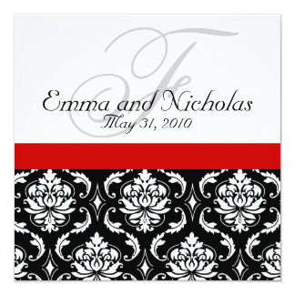 Red Black White Damask Wedding Invitation