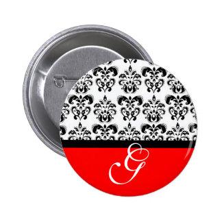 RED BLACK WHITE DAMASK WEDDING MONOGRAM 6 CM ROUND BADGE