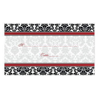 Red, Black, White Damask Wedding Place Cards Pack Of Standard Business Cards