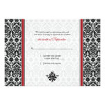Red, Black, White Damask Wedding Reply Card Personalised Announcements