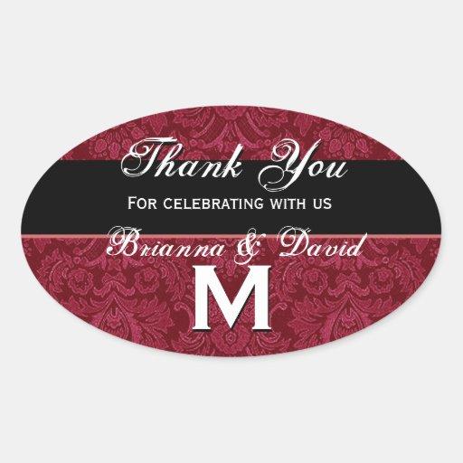 Red Black White Damask Wedding Thank You Monogram Oval Stickers