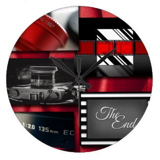 Red Black & White Film Collage Large Clock