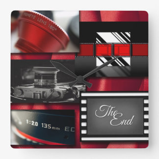 Red Black & White Film Collage Square Wall Clock
