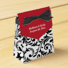 Red Black White Floral Damask Wedding Favour Box
