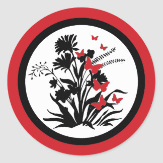 Red black white flower butterfly envelope seals round sticker