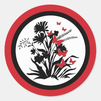 Red black white flower butterfly envelope seals round sticker