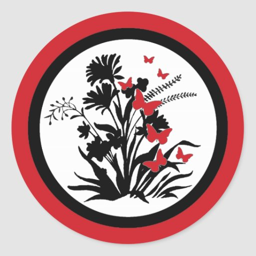 Red black white flower butterfly envelope seals stickers
