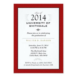 """Red Black & White Formal Graduation Party Invite 5"""" X 7"""" Invitation Card"""