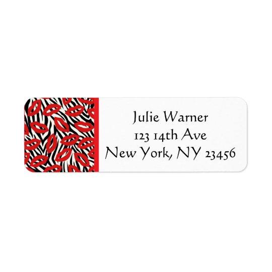 Red, Black, White Lips Return Address Stickers