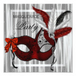 Red Black White Masquerade Party Personalised Invitations