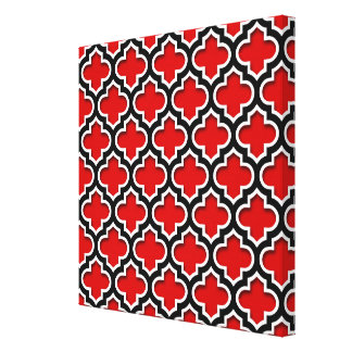 Red Black White Moroccan Quatrefoil Pattern #5DS Gallery Wrapped Canvas