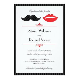 Red, Black & White Mustache & Lips Wedding 13 Cm X 18 Cm Invitation Card