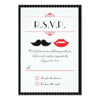 Red, Black & White Mustache & Lips Wedding RSVP 9 Cm X 13 Cm Invitation Card