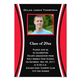 Red, Black, White Photo Graduation Invitation