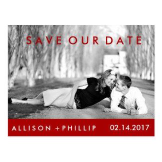 Red Black White Photograph Wedding Save Date Postcard