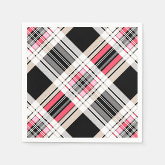 Red black white plaid disposable napkin
