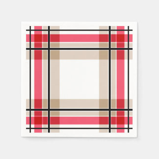 Red black white plaid disposable serviettes