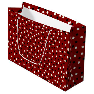 Red/Black/White Poke A Dot Design Large Gift Bag