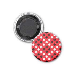 Red Black & White Polka Dot Round Magnet