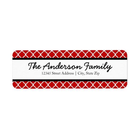 Red Black & White Quatrefoil - Address Labels