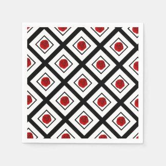 Red black white rose pattern paper napkin